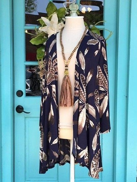 Something You - Feathers Knit Kimono - Navy/Taupe, $34.95 (http://www.somethingyou.com/new/feathers-knit-kimono-navy-taupe/)