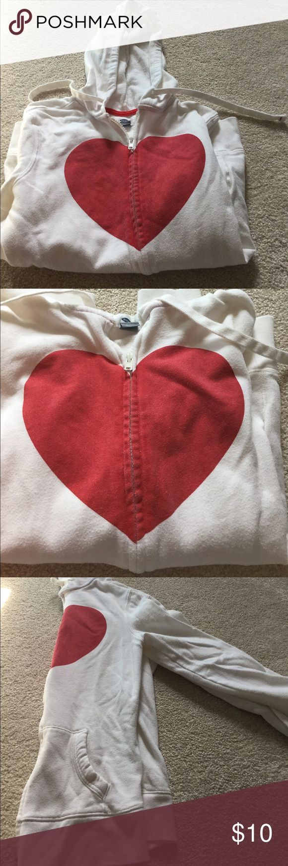 Old Navy Heart print Fleece Hoodie Small Old Navy Fleece Hoodie. Size small. Zip up, drawstring hood. White with red heart graphic on front. Good condition. Old Navy Tops Sweatshirts & Hoodies