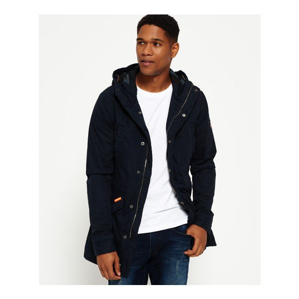 Superdry Classic Rookie Military Parka Coat ($125) ❤ liked on Polyvore featuring men's fashion, men's clothing, men's outerwear, men's coats, navy, mens fishtail parka, mens navy blue sport coat, mens hooded parka and mens fur lined coat