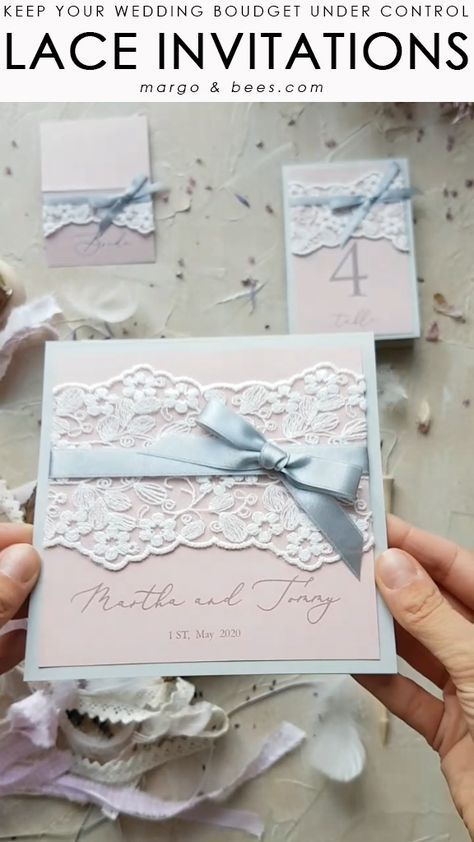 Lace wedding invitations - pink and grey match  #weddinginvitations #pastelpinkwedding #weddingideas #weddingbudget