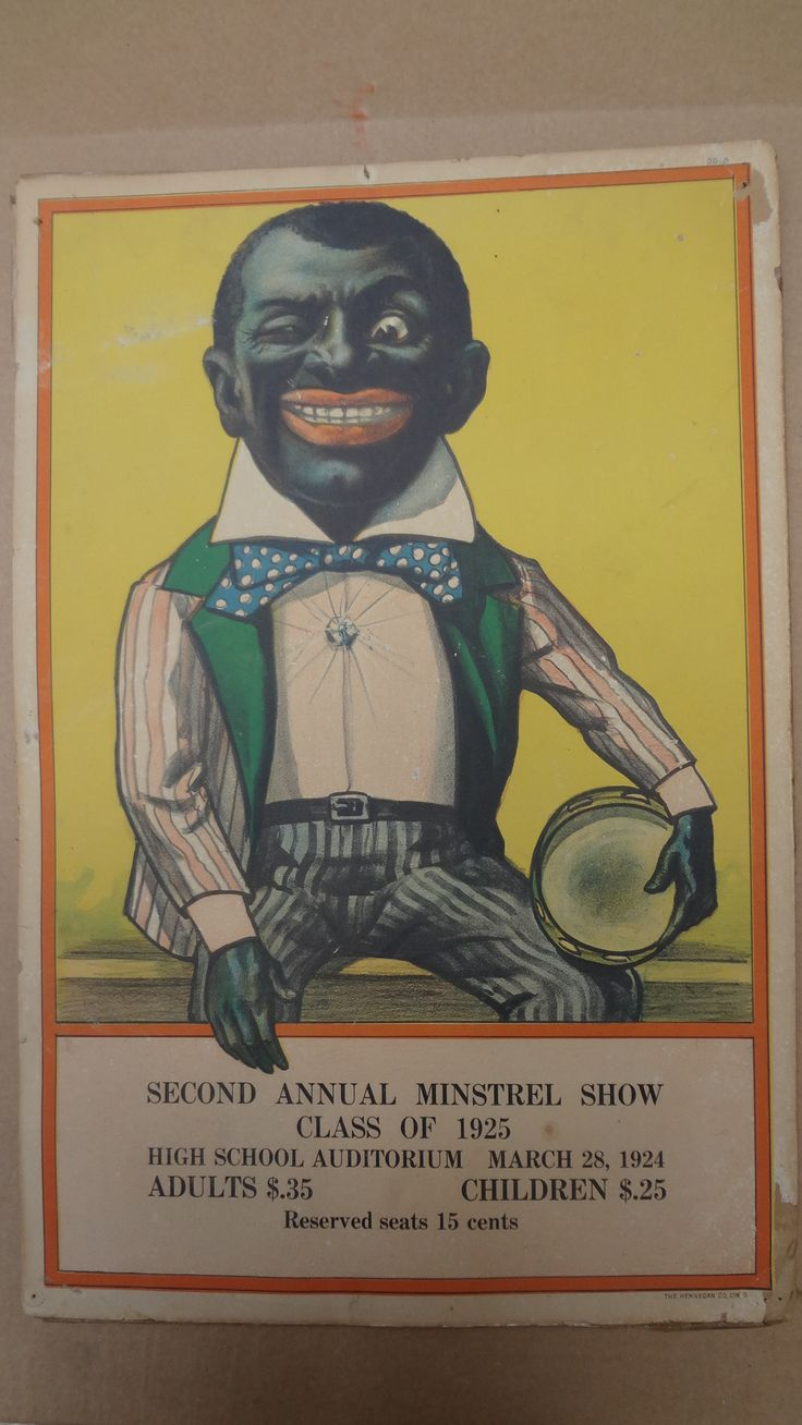 Texas letters with clown faces tattoos by stevie garza - Rare Original 1920s Minstrel Advertisement Poster