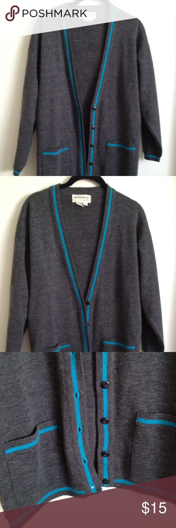Breckinridge Petite Cardigan Charcoal gray with teal accents, this cardigan is perfect for any outfit. Looks great with jeans, leggings, skirts, etc. In great condition, barely worn. Breckenridge Petite Sweaters Cardigans