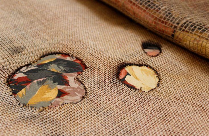 Runner da tavolo _ Saia di cotone, tela di juta, garza di juta, tessuto floreale