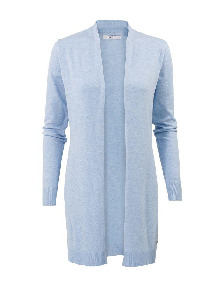 Blauw vest met lange mouwen. Het is een openvallend en getailleerd model, gemaakt van viscose kwaliteit. #missetam
