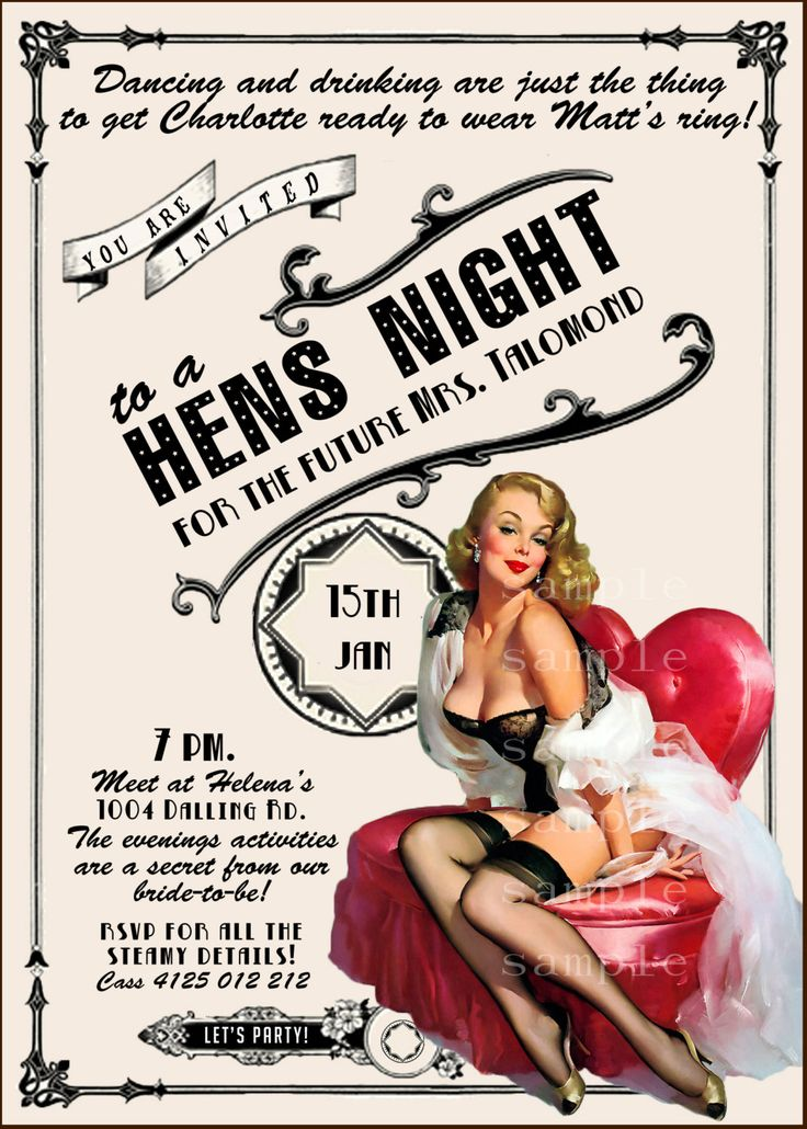 Vintage Pin Up Girl  Invitation- Bachelorette party, Hens night, Lingerie Shower burlesque invite diy print file PRINTED OPTIONAL. $15.99, via Etsy.