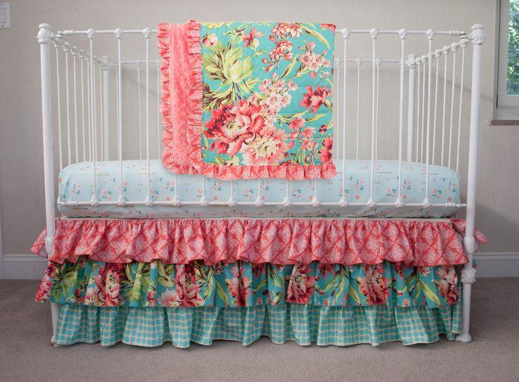 Bumperless Teal, Coral, Mint  Aqua Metallic Gold Baby Girl Crib Cot Bedding made with Love Bliss Bouquet Fabric by HandmadeBySasha on Etsy https://www.etsy.com/listing/470030622/bumperless-teal-coral-mint-aqua-metallic