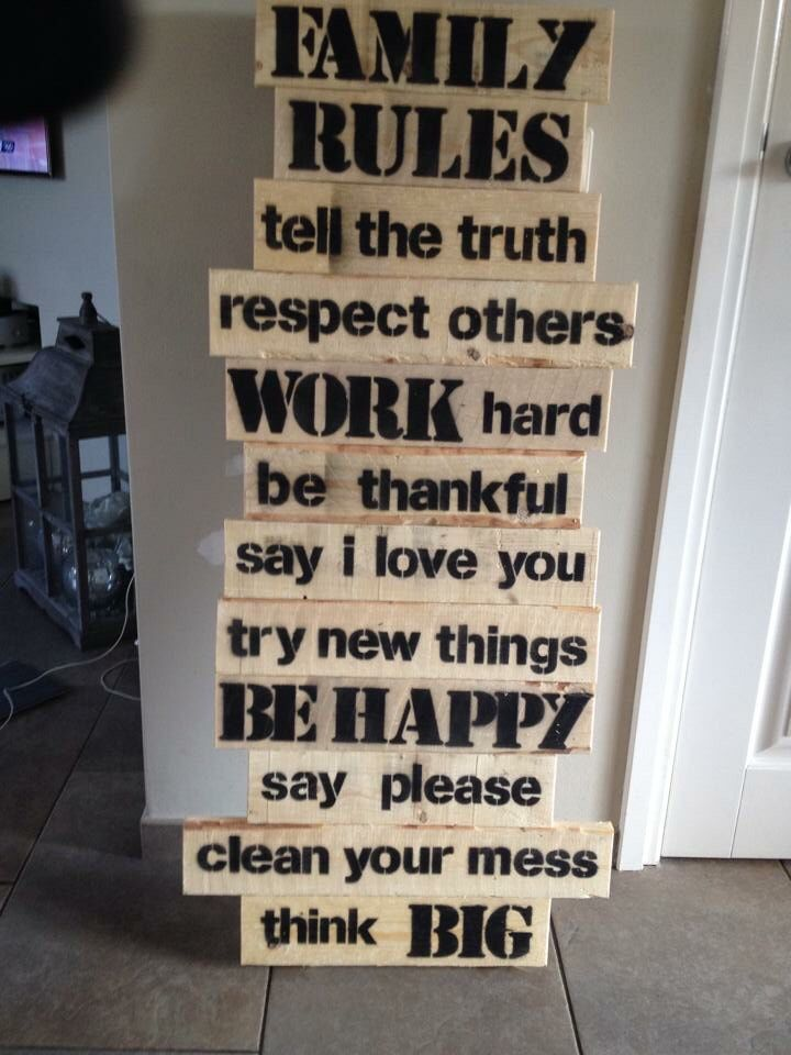 Om de regels voor thuis maar helder te hebben. Familie regels van steigerhout