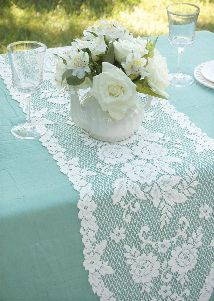 Heritage Lace Victorian Rose 13 x 54 Lace Table Runner - Roses And Teacups  - 1