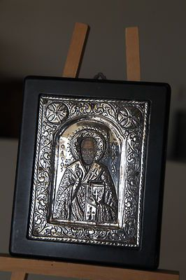 Silver 950 Byzantine Copy Art of Saint Nicholas. Traditional Hagiography