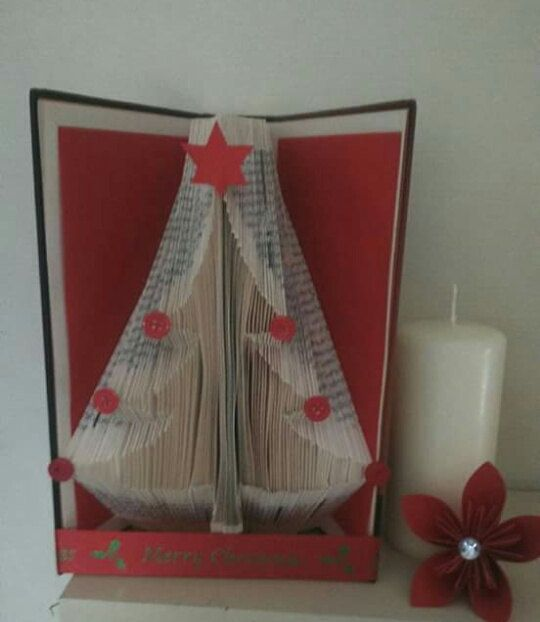 Christmas Tree Book Folding Pattern by Meggymoonbeams on Etsy