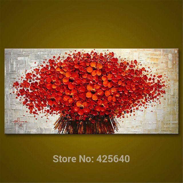 pared pintura flor de la mano del cuchillo de paleta pintada flor d textura pintados a cuadros
