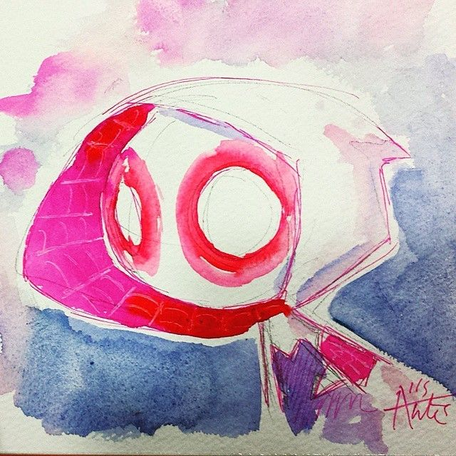 Spider Gwen! I really enjoy sketching her since her colours are so much fun. #spidergwen #spiderman #spiderverse #marvel #comics #mini #chibi #cute #agnesgarbowska #kawaii #watercolor #watercolour #painting #drawing #illustration #art...