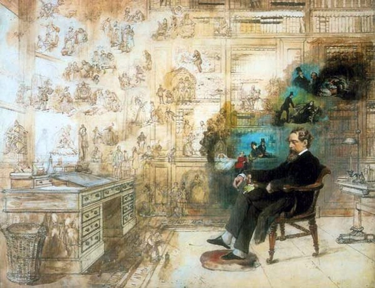"""Dickens' Dream"""",  unfinished painting by Robert W. Buss (1804-75)"""
