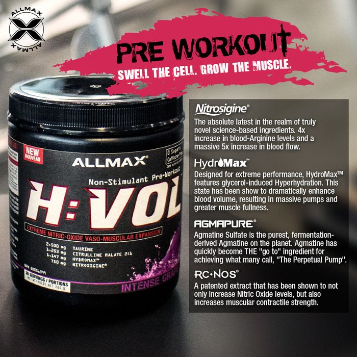 #HVOL is a caffeine-free and sugar-free pre-workout that effectively increases pressure within the muscle during intense resistant training. Creates signals to tell the muscle to grow and forces the biomechanical pressure, metabolic stress brought about by intense training that volumizes the cell triggering hypertrophy. Delivery of an insane pump, a full, dry, and vascular look while you train and a noticeable increase in muscle strength.