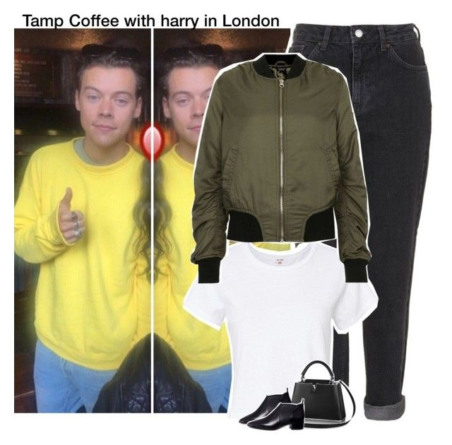 """Tamp Coffee with harry in London"" by xtommox91 ❤ liked on Polyvore featuring Topshop, RE/DONE, Acne Studios, OneDirection and harrystyles"