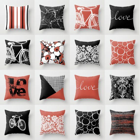 Black White Terracotta Red Throw Pillow Mix And Match Indoor