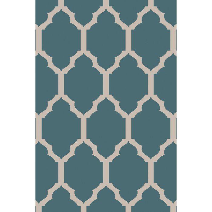Kitchen runner, stove mat,  and sliding door mat Surya Skyline Teal Geometric Area Rug | Wayfair