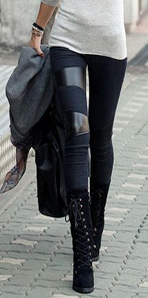 { Leather Paneled Leggings }: Style, Lace Up Boots, Leather Patches, Panel Leggings, Leather Panels, Outfit, Leather Details, Leather Leggings