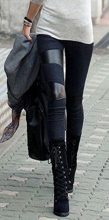 { Leather Paneled Leggings }