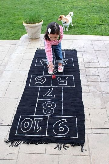 hopscotch can be played inside and outside. This will help on practicing movement. For young children balance takes time to learn so activities like this would help :)