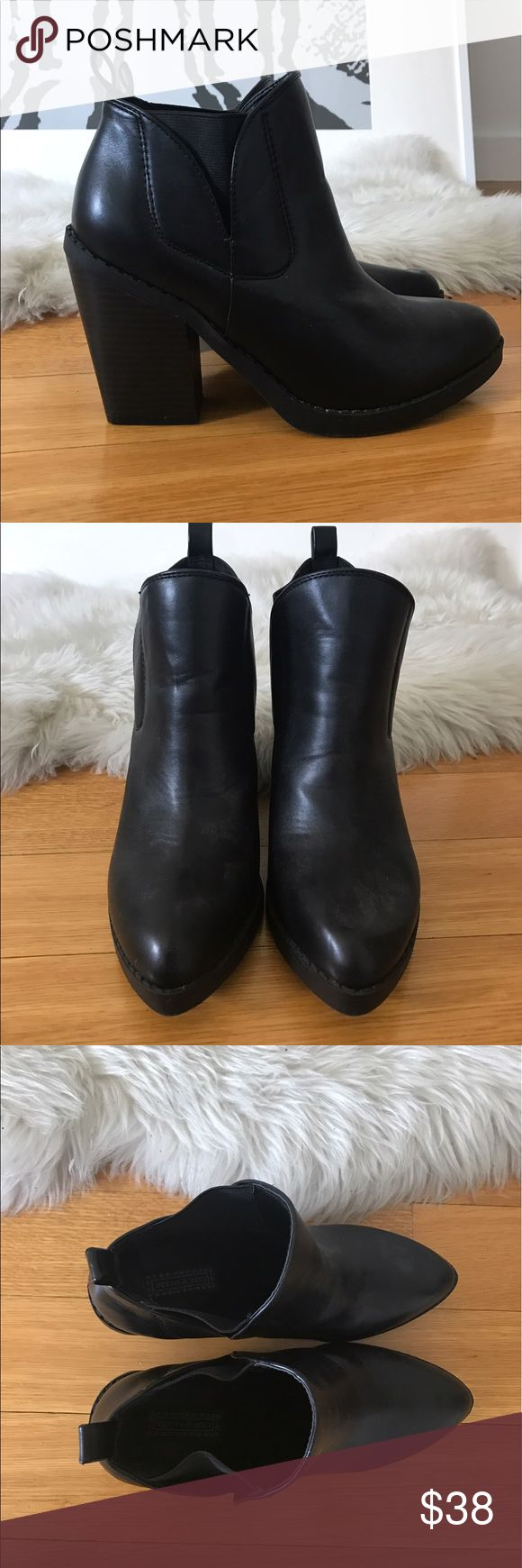 Black Leather Heeled Ankle Boots Black faux leather ankle boots from Urban Outfitters. Size 8 women's. Pointed toe with 3 inch heel. Worn once but in pretty much new condition otherwise. Urban Outfitters Shoes Ankle Boots & Booties