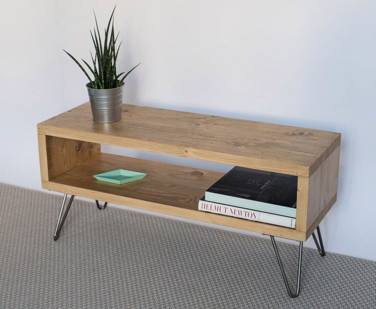 Emily Reclaimed Wood TV Stand  TV Cabinet  Hairpin Legs  Light Oak  Finish  Living Room  Side Table