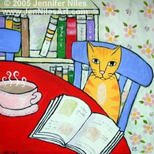 cat and book, red table