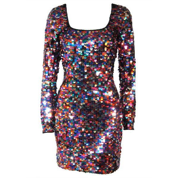 Vintage Oleg Cassini Rainbow Sequinned Cocktail Dress ❤ liked on Polyvore featuring dresses, vintage dresses, oleg cassini dresses, oleg cassini, colorful dresses and multi print dress