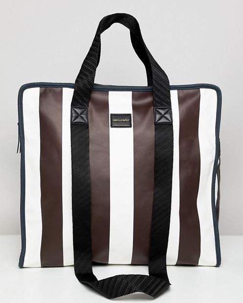 b9a5e75d3718e MENS BURGUNDY STRIPED FAUX LEATHER SHOPPER TOTE BY ASOS DESIGN - VEGAN TOTE  BAG