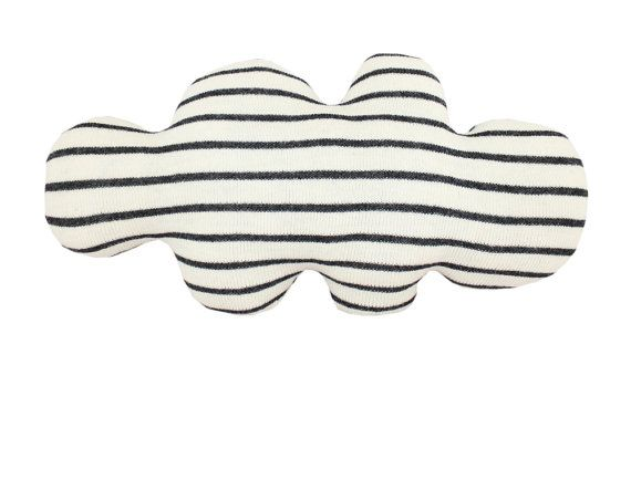 CLOUD shaped pillow -  wide stripes: black, blue, red or yellow on Etsy, $68.00