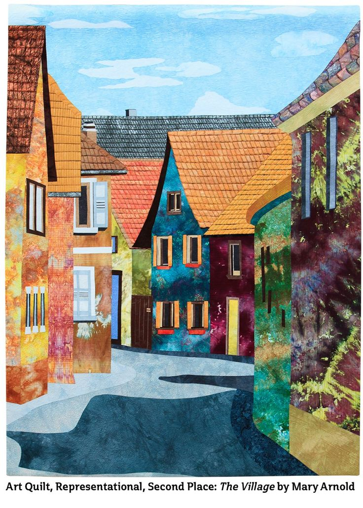The Village by Mary Arnold. 2nd place, Art Quilt, Representational. 2015 Quilt Winners at Northwest Quilting Expo, Portland OR