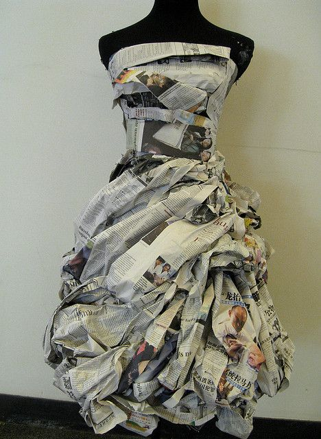Newspaper Dress with lovely texture detail // fashion meets art