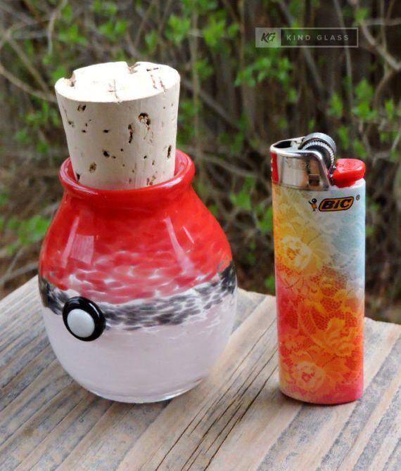 Tokeball Stash Jar Glass Chillum Pokemon Pipe Tokemon Go