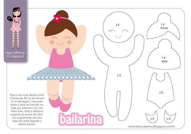 Molde Bailarina Erica Catarina - Amigas do Feltro!