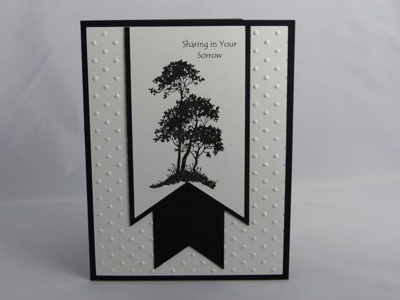 This hand-made sympathy using Stampin Ups Serene Silhouette stamp set features the sentiment Sharing in Your Sorrow. The base of the card is
