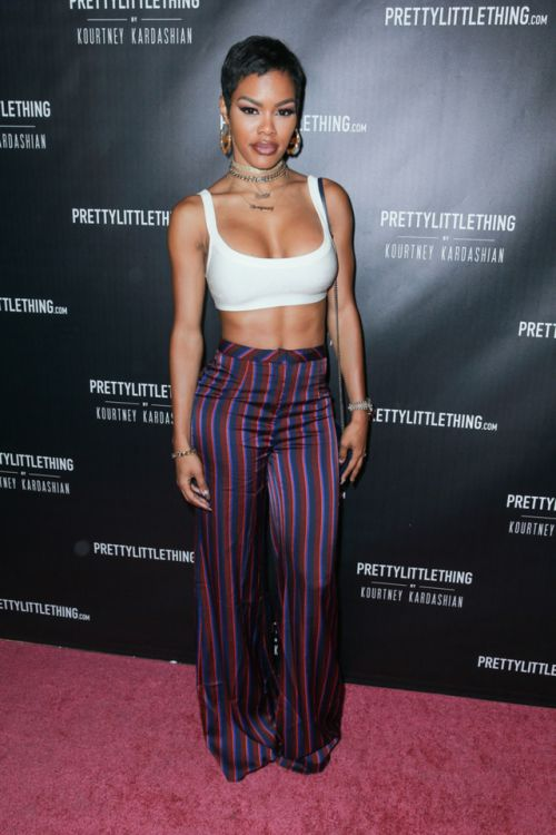 10/25/17 - Teyana Taylor at the PrettyLittleThing X Kourtney Kardashian Collection Launch in LA.