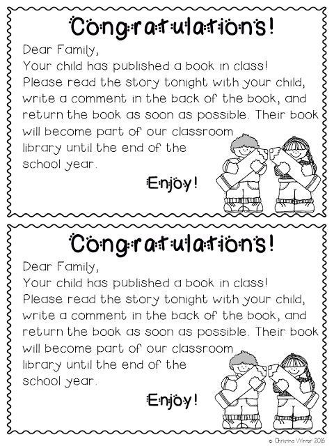 Mrs. Winter's Bliss - The Writing Process - letter to parents about student published book