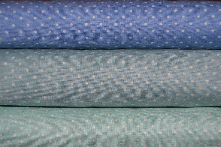 lot de 3 coupons de tissu patchwork moda pois Bleus 24x55cm