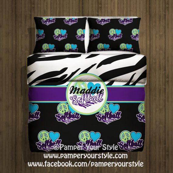 Softball Bedding  -  Peace Love Soft Ball Bedroom - Zebra Bed - Personalize with Name or Monogram on Etsy, $139.00