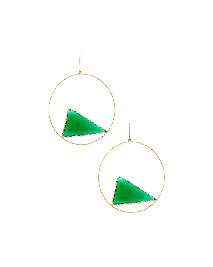Lana 14k Envy Triad Green Onyx Hoop Earrings, Yellow Gol