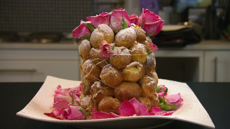 Jenna and Joann's Croquembouche from season 4 of My Kitchen Rules: http://gustotv.com/recipes/snacks/croquembouche/