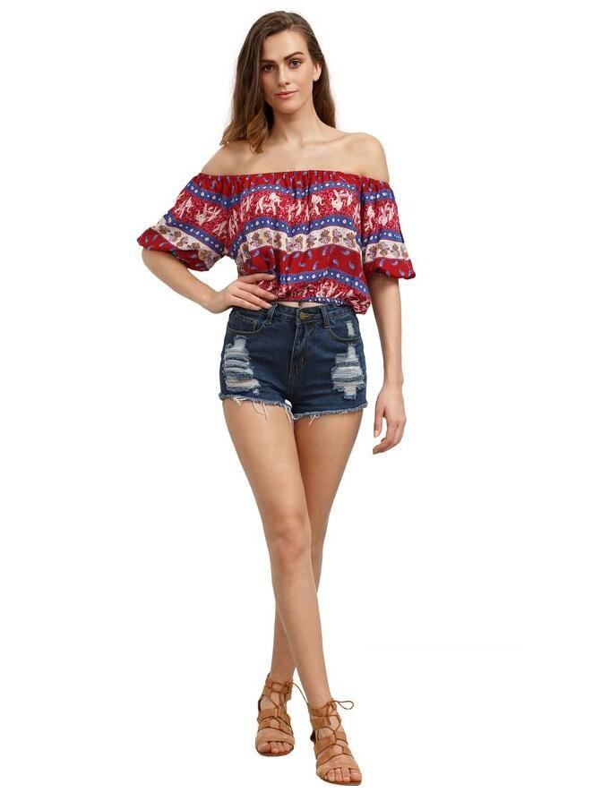Multicolor Off Shoulder Floral  Blouse,Only $10.99! Find it at https://www.amazon.com/Floerns-Womens-Shoulder-Crop-Blouse/dp/B01H76VL84/ref