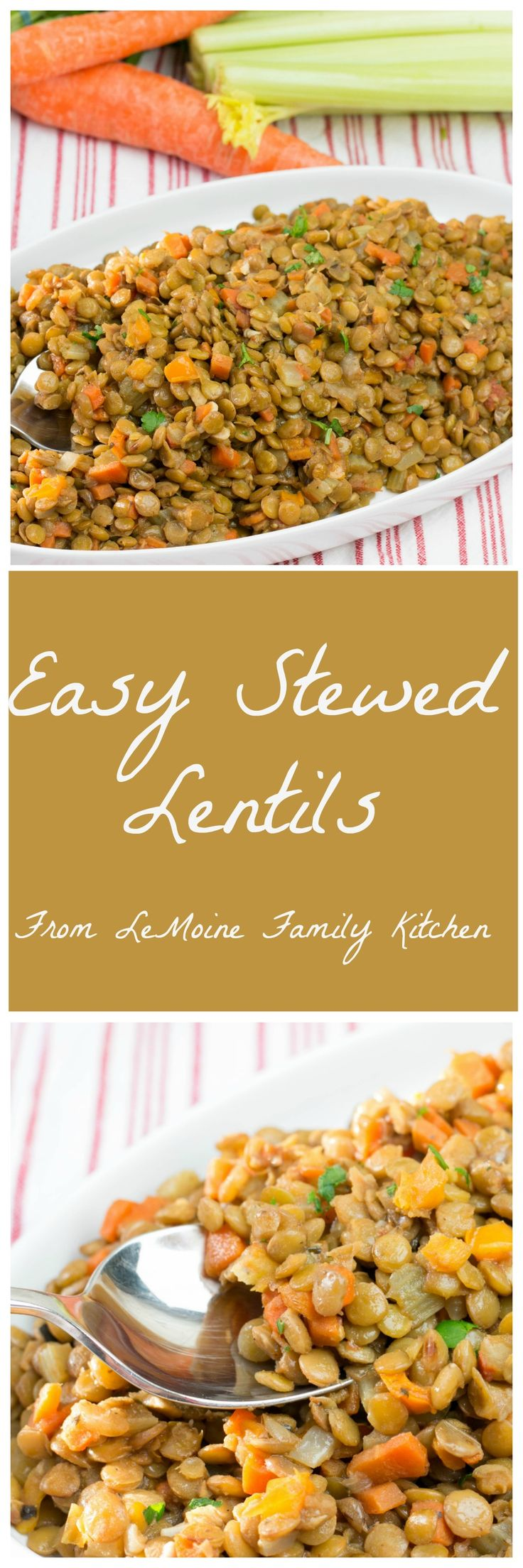 Starting the New Year off with plenty of healthy recipes. This Easy Stewed Lentils dish is so flavorful, filling and the health benefits of lentils is kind of a big deal! You are going to love this recipe!