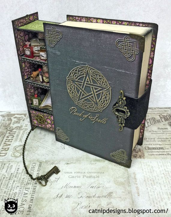 Secret Spell Book Box with Hidden Pull Out Potion by CatnipDesign
