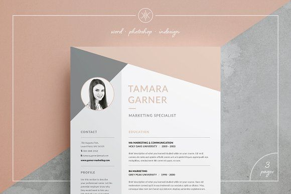 Resume/CV | Tamara by Keke Resume Boutique on @creativemarket Our design, 'Tamara', contains a professional two page design with matching cover letter and funky triangle/polygon header. Everything is editable including fonts and colors so be sure to personalize to suit your needs. Move and duplicate elements and make the design your own!