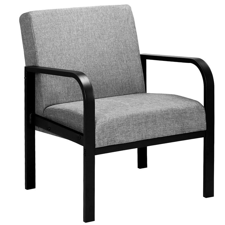 Loungesessel Relaxsessel aus Stahl und Stoffbezug Grau