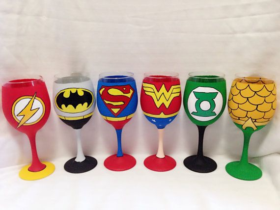 Super Hero set of 6 inspired hand painted wine by AWhimsicalHoot