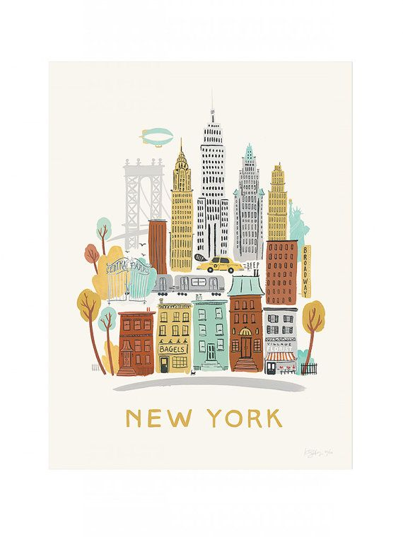 Small New York Neighborhood Print by RocketInk on Etsy, $15.00