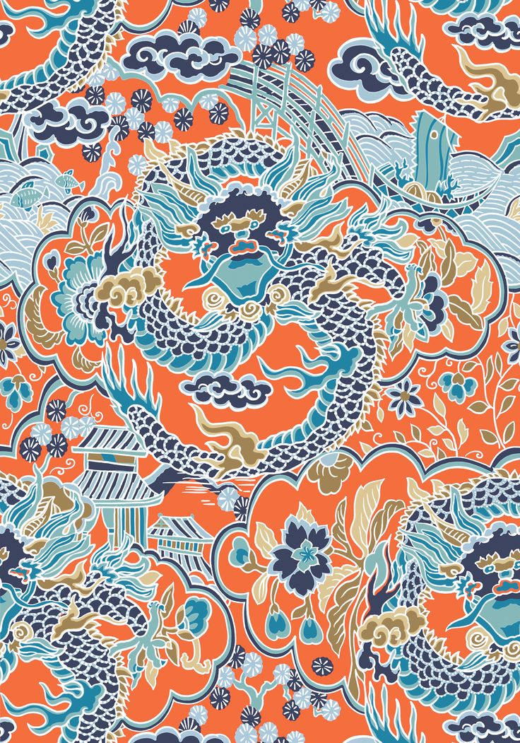 IMPERIAL DRAGON, Coral and Turquoise, T14237, Collection Imperial Garden from Thibaut