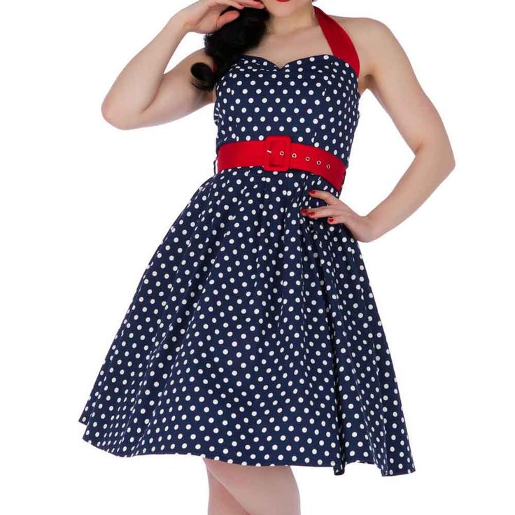 Gloria jurk met polkadot stippen en rode riem marine blauw/wit - Vintage, 50's, Rockabilly, retro